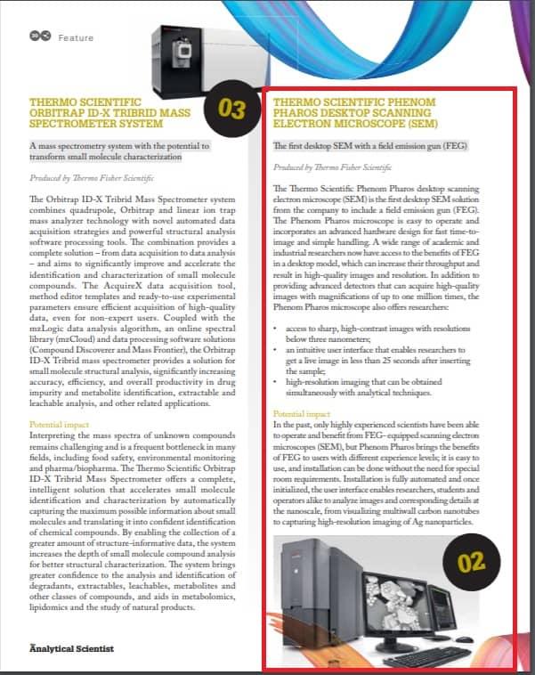 "桌上型電子顯微鏡Phenom Pharos 榮獲2018《The Analytical Scientist》雜誌 ""最佳創新獎"""